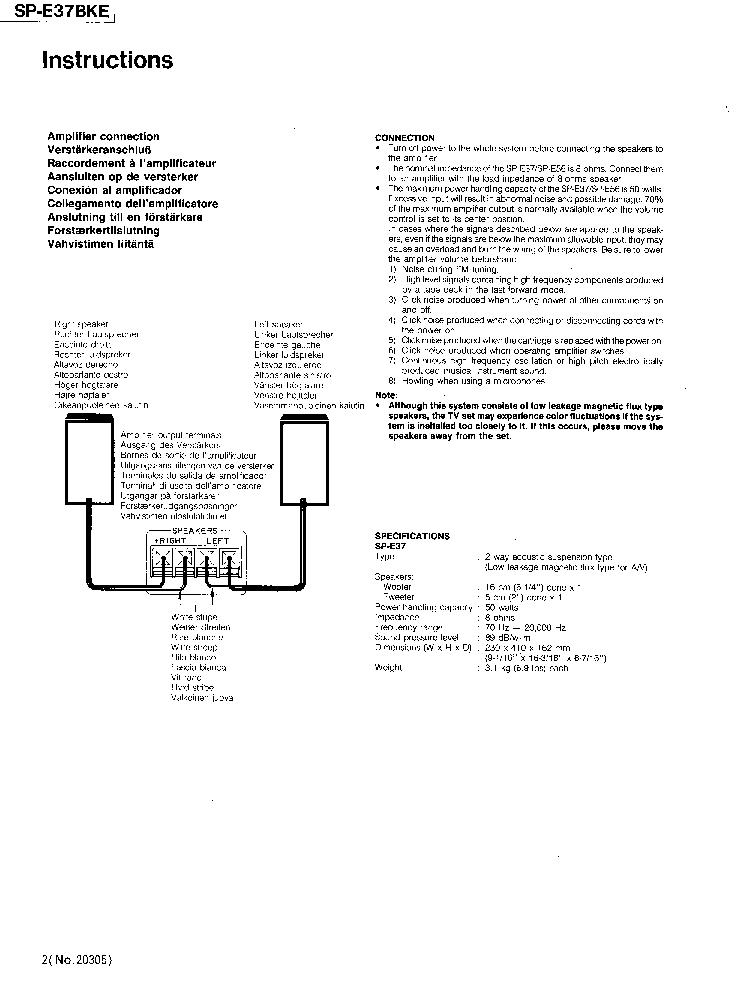 JVC SP-E37-BKE SPEAKER SYSTEM 1992 SM Service Manual