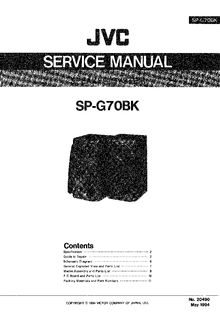 JVC SP-G70BK Service Manual download, schematics, eeprom