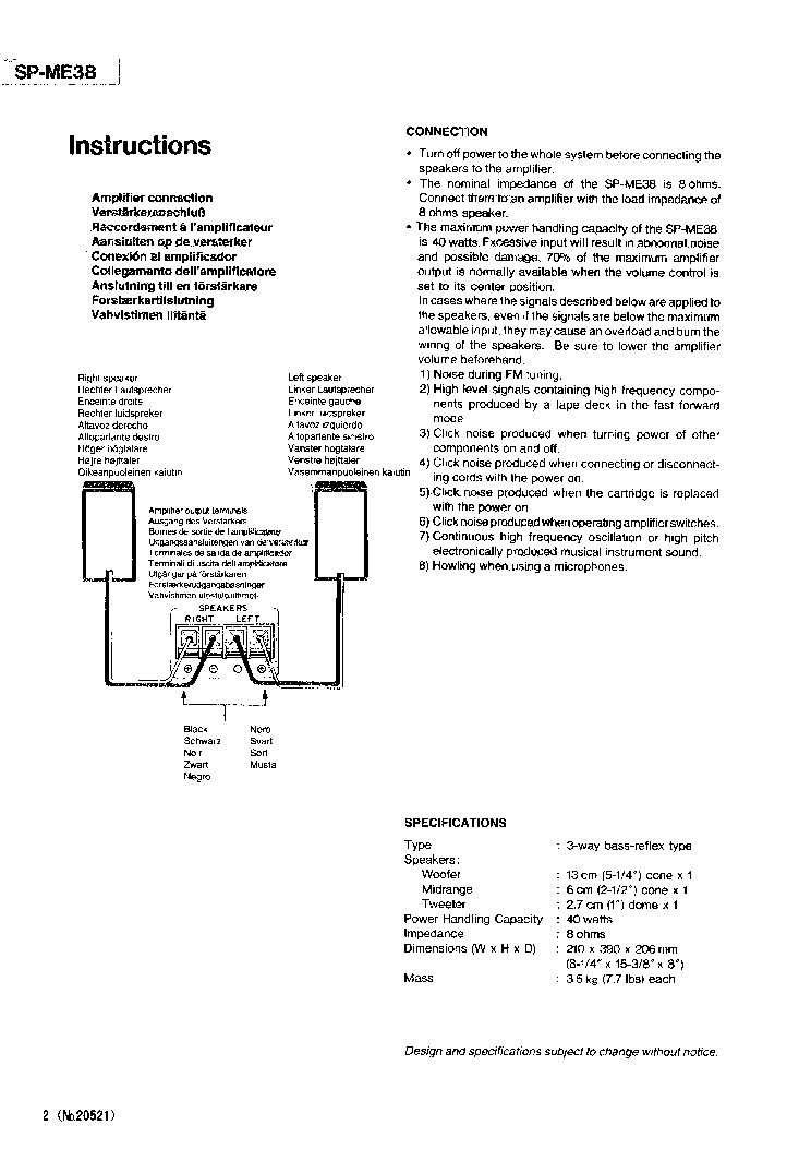JVC SP-ME38 Service Manual download, schematics, eeprom