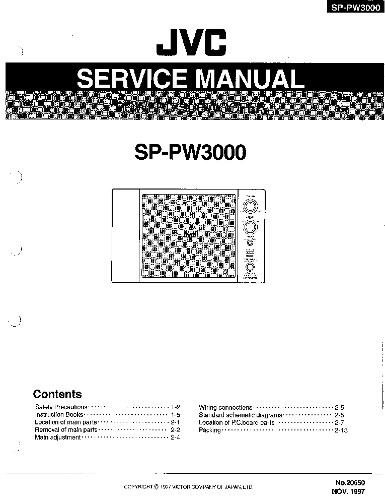 JVC SP-PW3000 SM Service Manual download, schematics