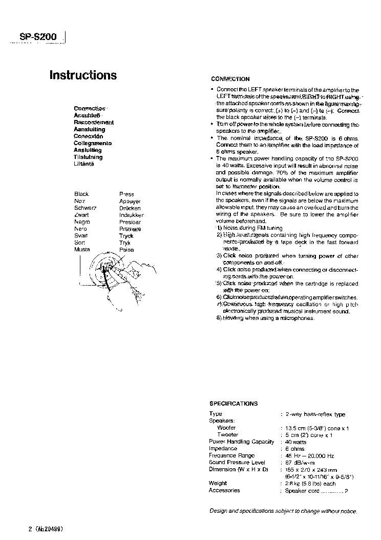 JVC SP-S200 Service Manual download, schematics, eeprom