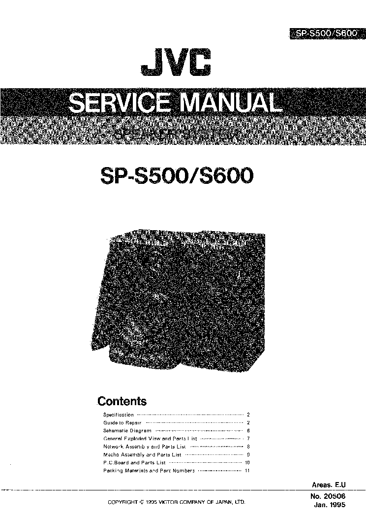 JVC SP-S500 SP-S600 Service Manual download, schematics