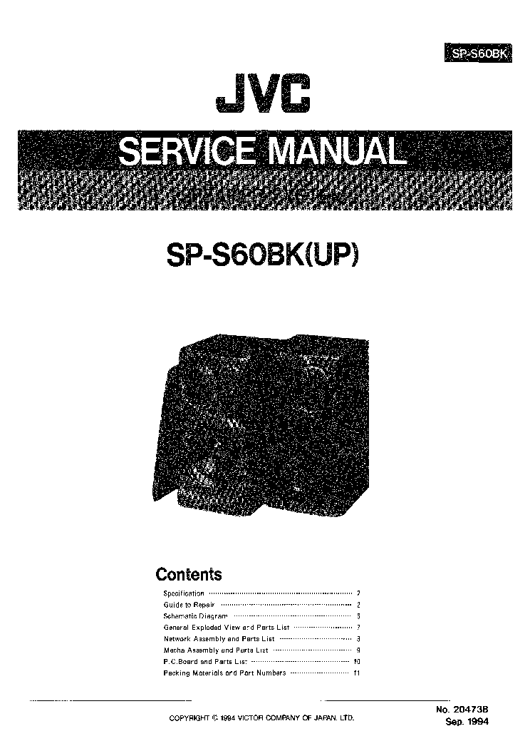 JVC SP-S60BK Service Manual download, schematics, eeprom
