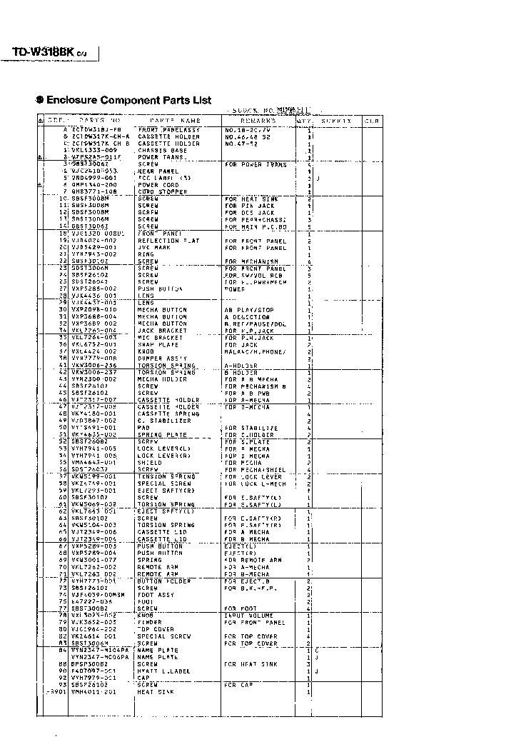 JVC TD-W318BK SUPPLEMENT Service Manual download