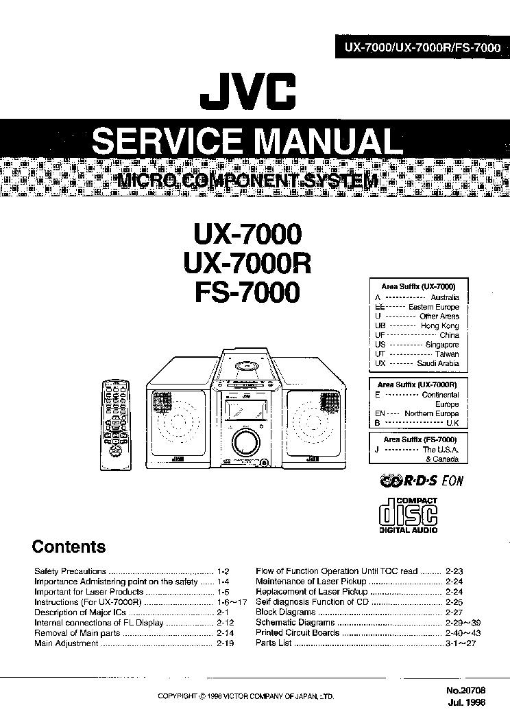 JVC UX-7000 7000R FS-7000 SM Service Manual download