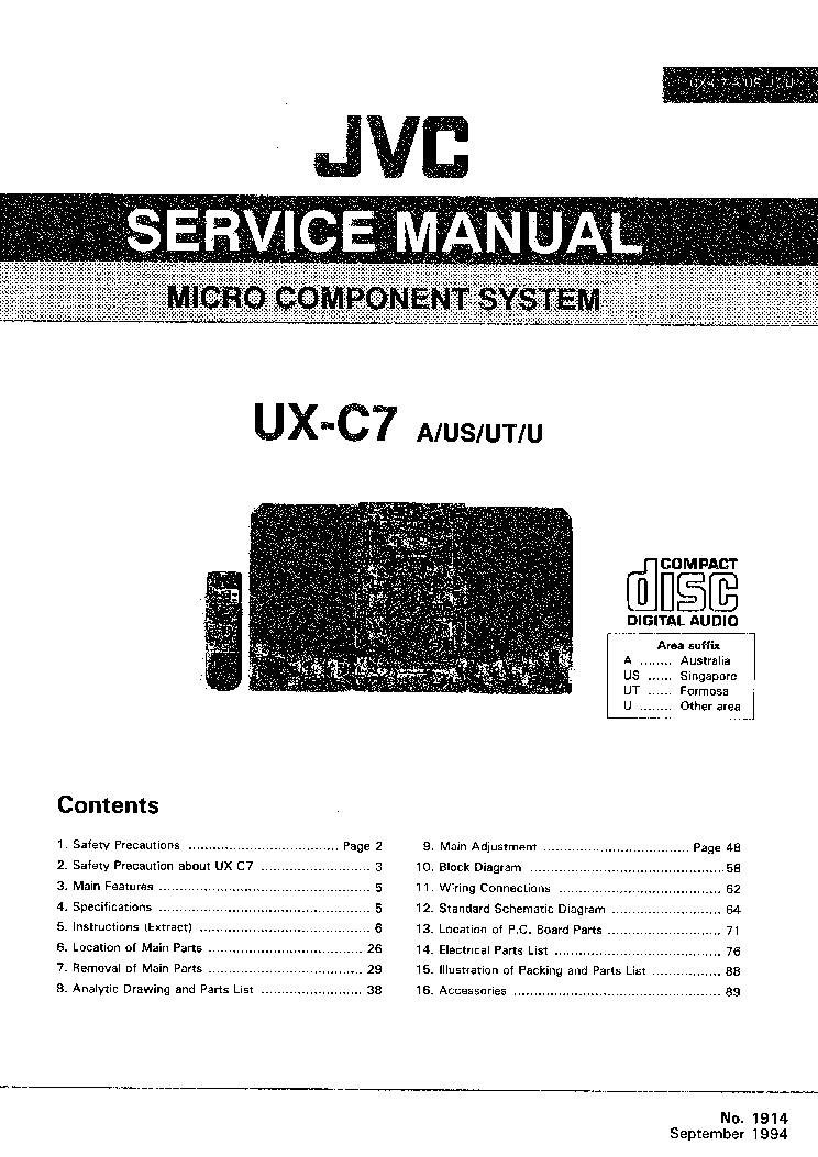 JVC UX-C7 Service Manual download, schematics, eeprom