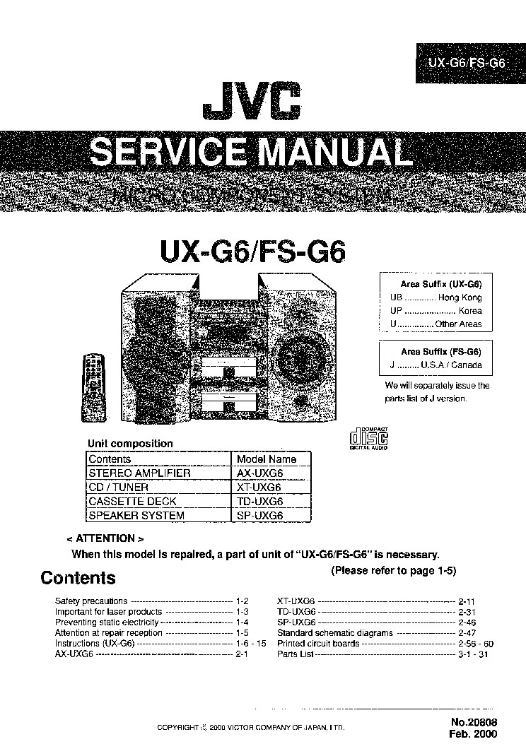 JVC UX-G6 FS-G6 Service Manual download, schematics