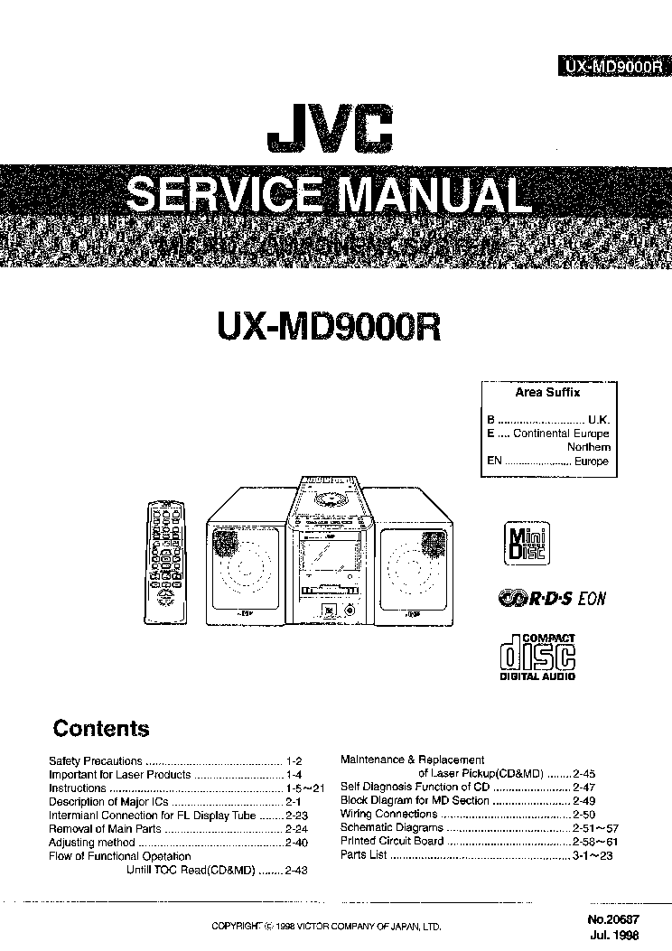 JVC UX-MD9000R Service Manual download, schematics, eeprom