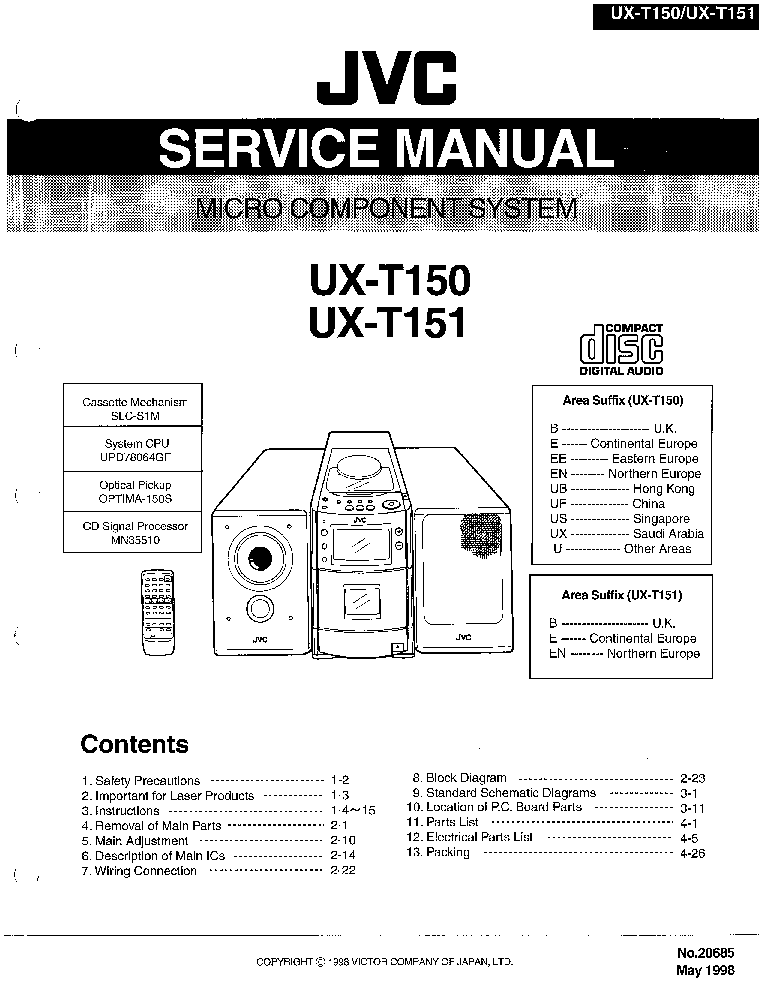 JVC UX-T150,T151 Service Manual download, schematics