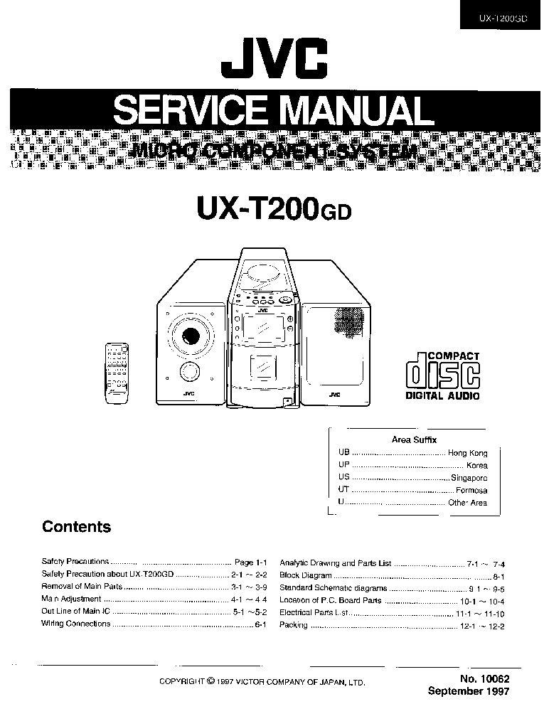 JVC UX-T200GD Service Manual download, schematics, eeprom