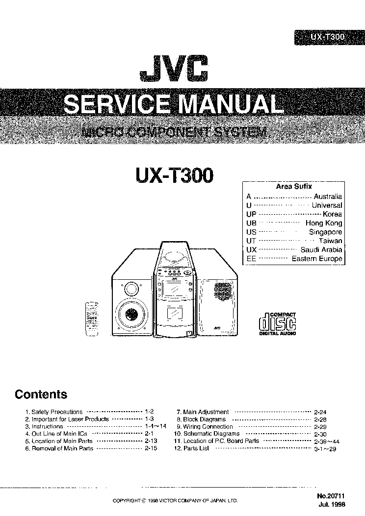 JVC UX-T300 Service Manual download, schematics, eeprom