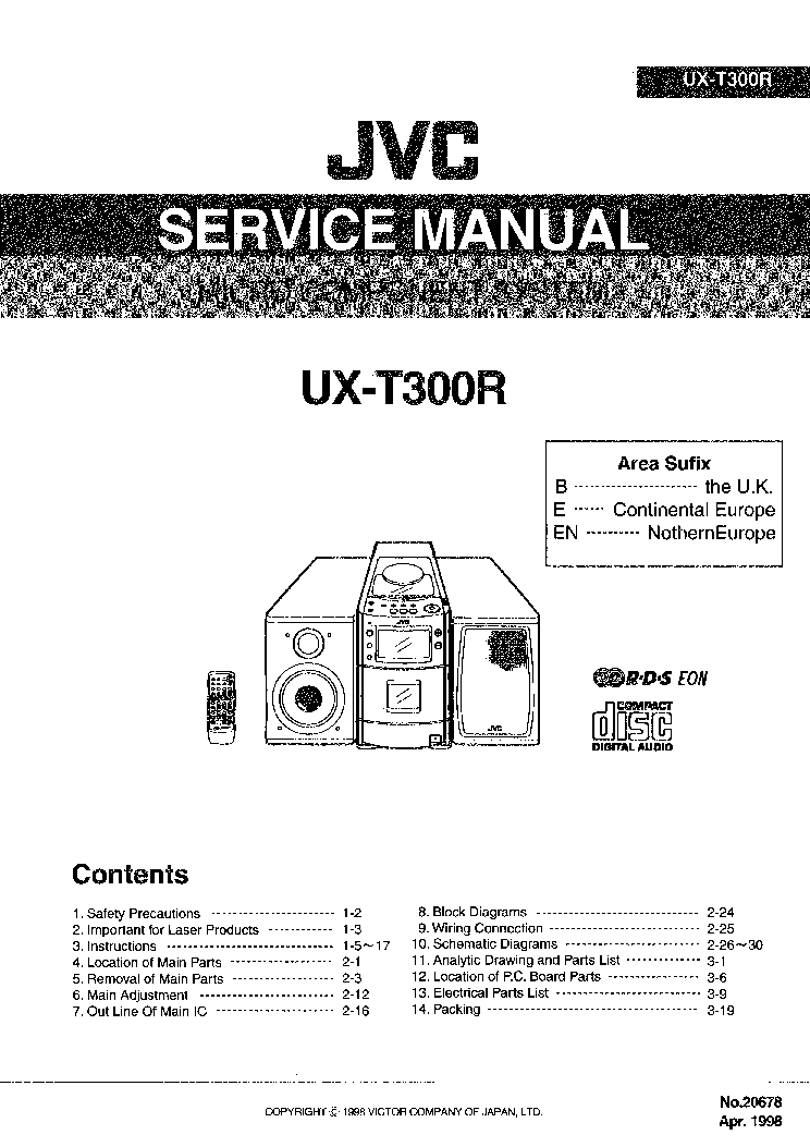 JVC UX-T300R Service Manual download, schematics, eeprom