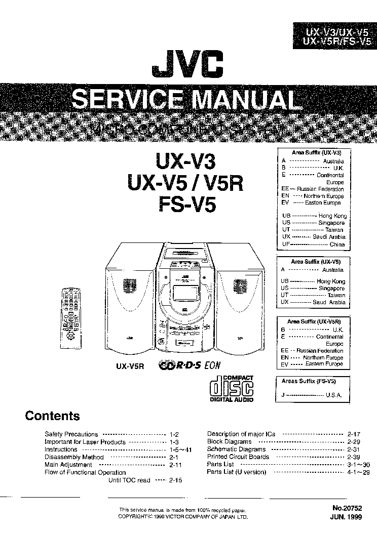 JVC UX-V3 UX-V5 FS-V5-20752 Service Manual download