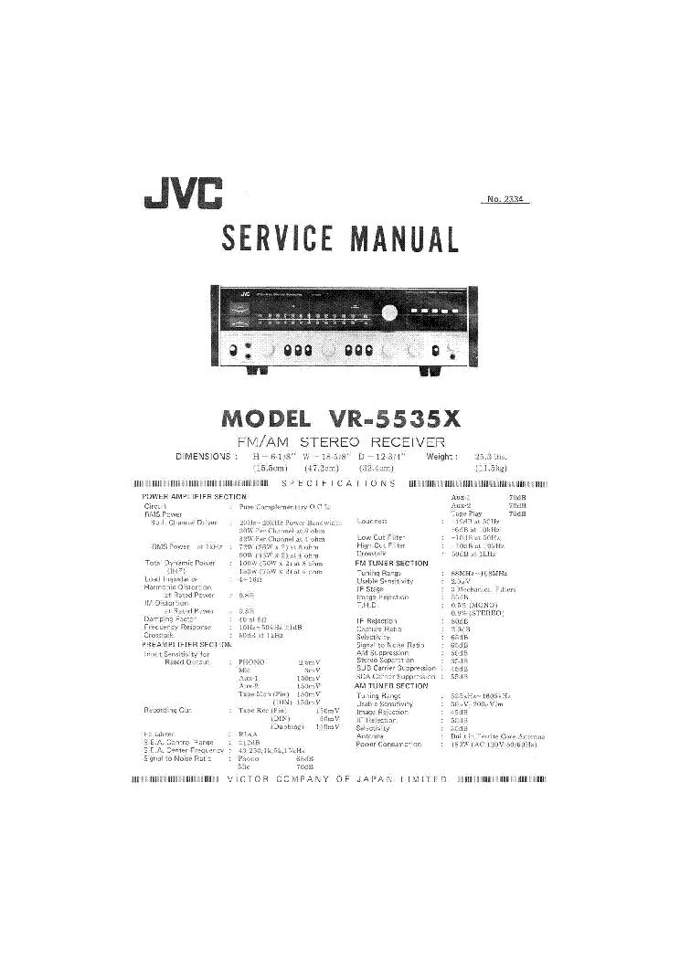JVC VR5535X Service Manual download, schematics, eeprom