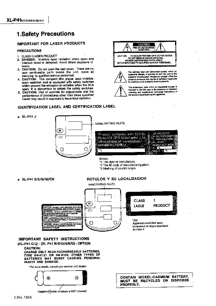 JVC XL-P41 Service Manual download, schematics, eeprom