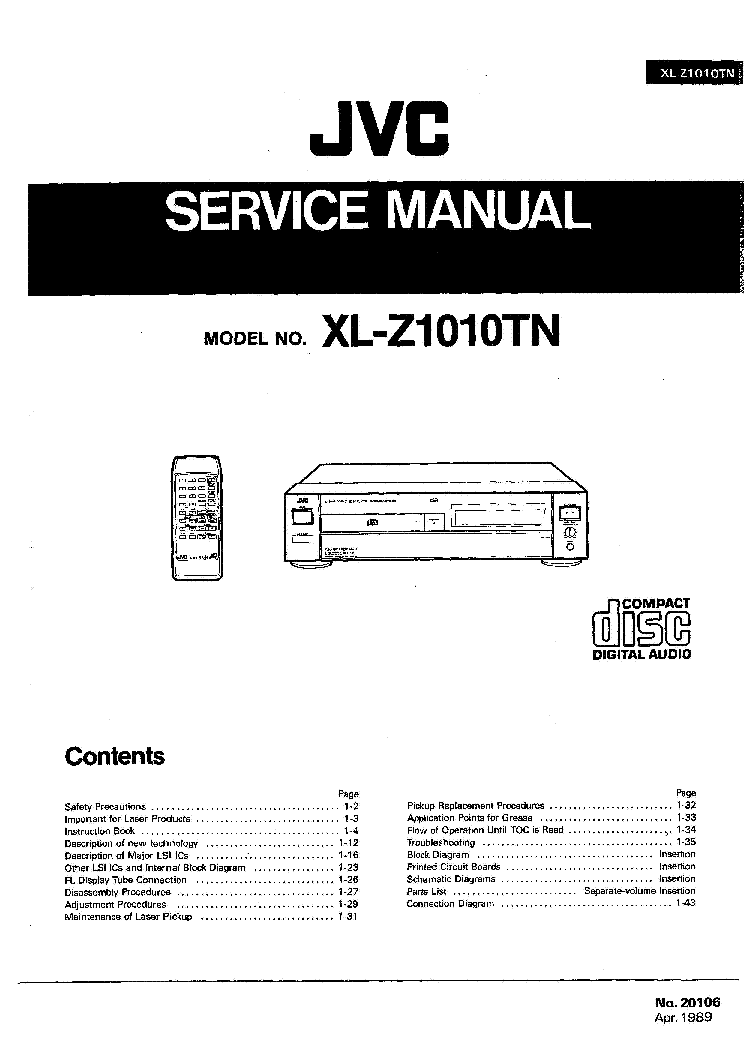 JVC XL-Z1010TN CD PLAYER Service Manual download