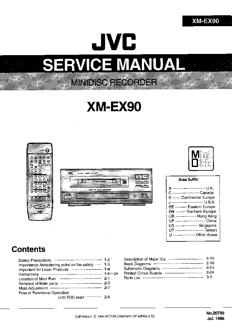 JVC XM-EX90 Service Manual download, schematics, eeprom