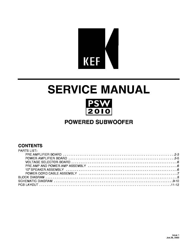 KEF PSW2010 SM Service Manual download, schematics, eeprom