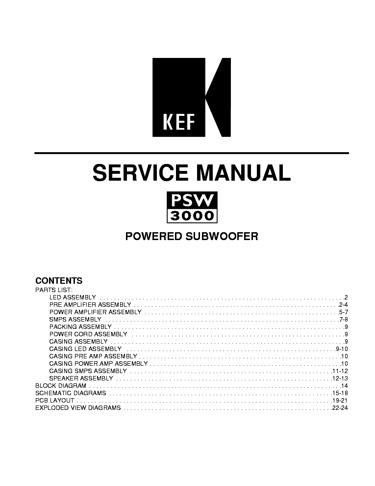 KEF PSW3000 Service Manual download, schematics, eeprom