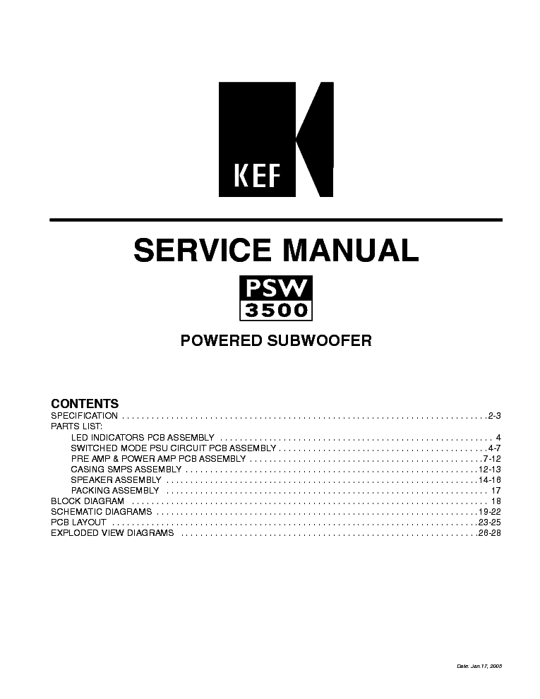 KEF PSW3500 POWERED SUBWOOFER Service Manual download