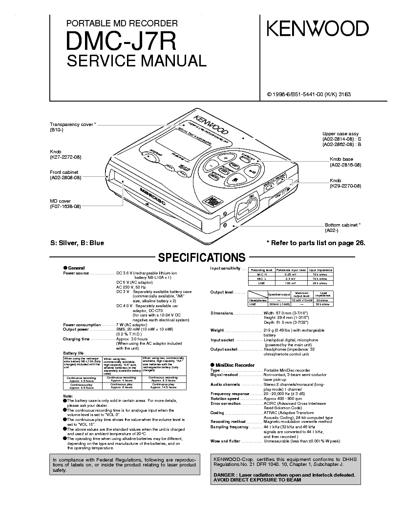 KENWOOD DMC-J7R Service Manual download, schematics