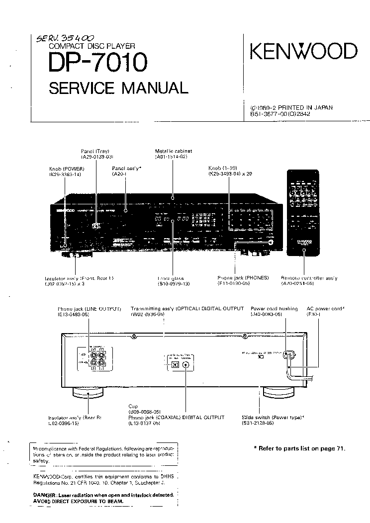 KENWOOD DP-7010 SM Service Manual download, schematics