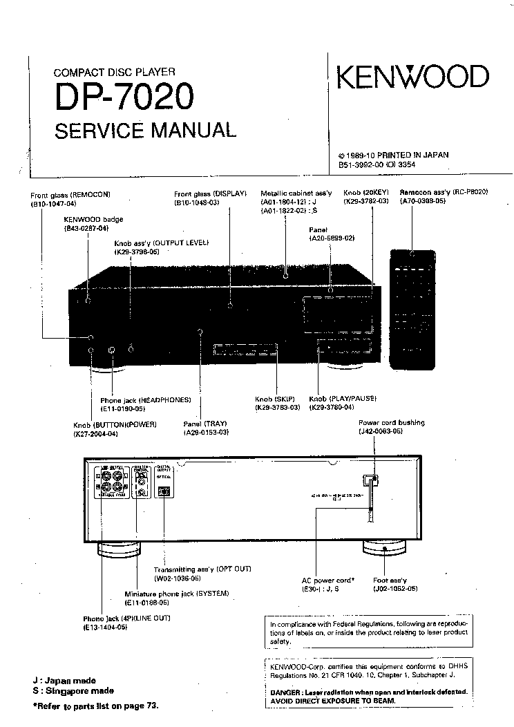 KENWOOD DP-7020 Service Manual download, schematics