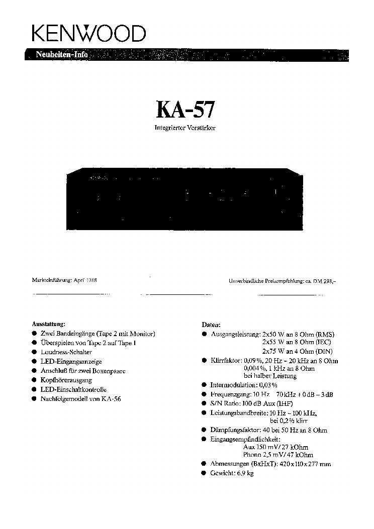 KENWOOD KA-57 Service Manual download, schematics, eeprom