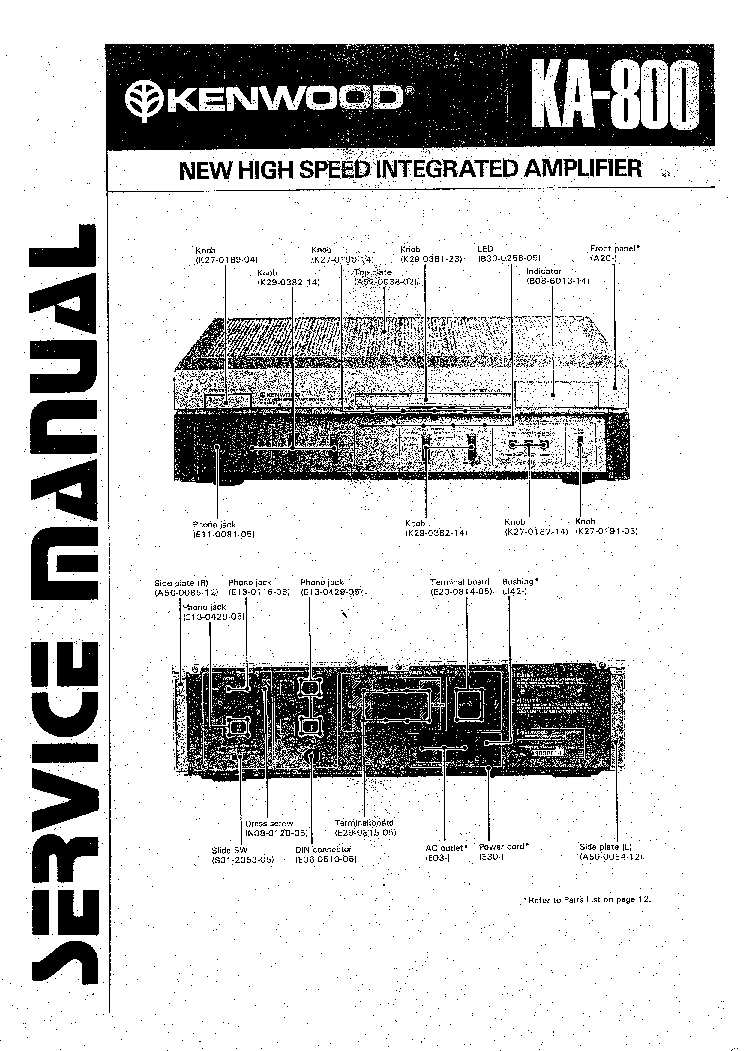 KENWOOD KA-800 Service Manual download, schematics, eeprom