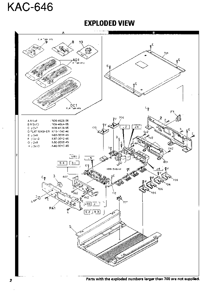 KENWOOD KAC-646 SM Service Manual download, schematics