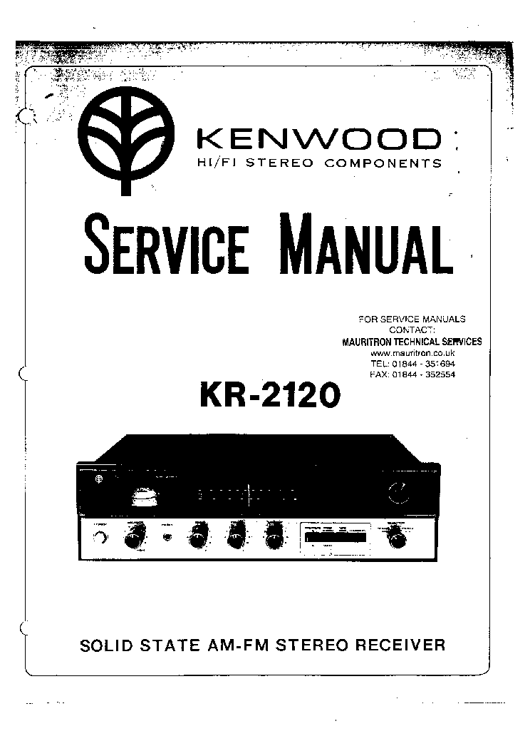KENWOOD KR-2120 HI-FI STEREO COMPONENTS Service Manual