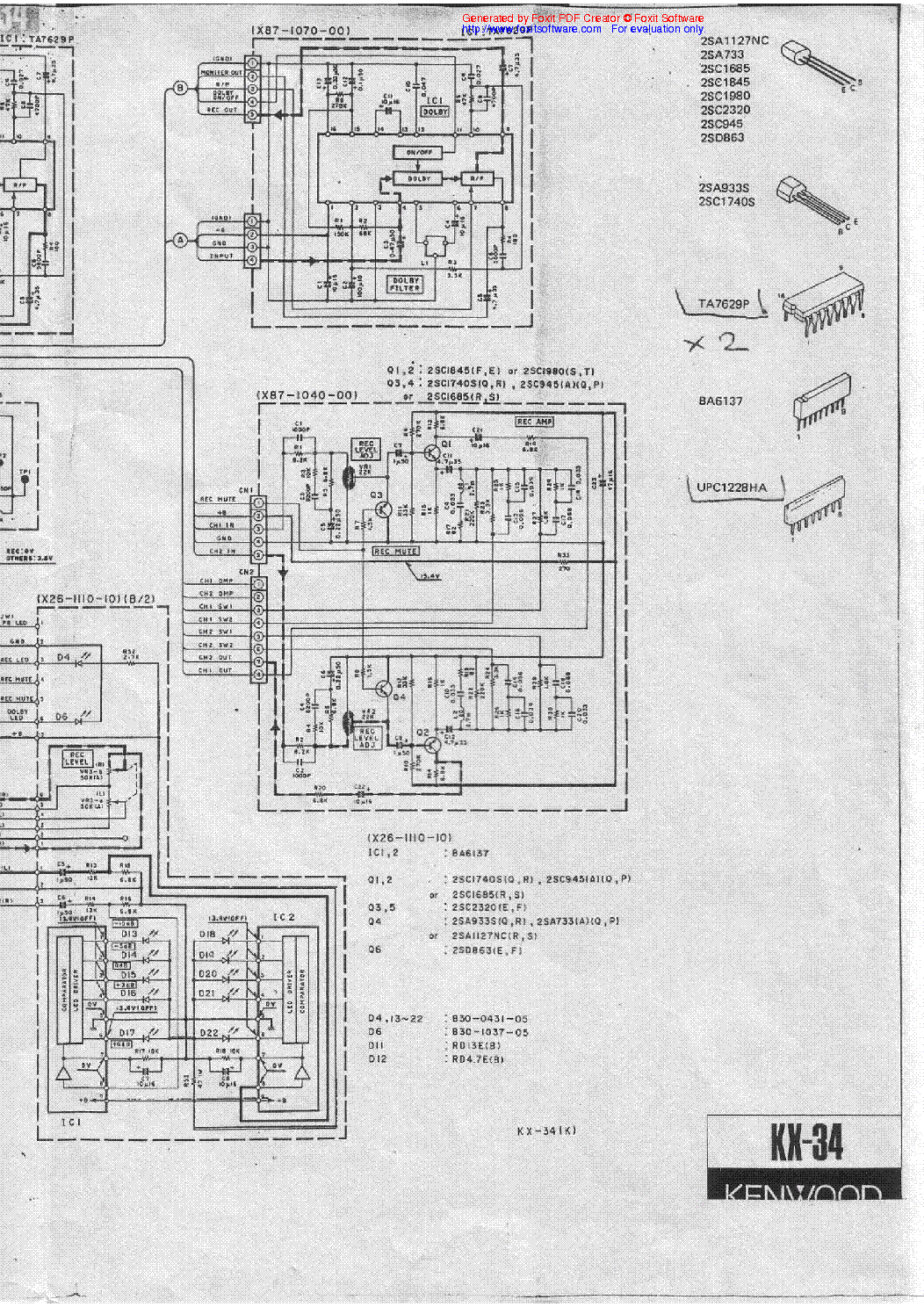 KENWOOD KX-34 SCH Service Manual download, schematics
