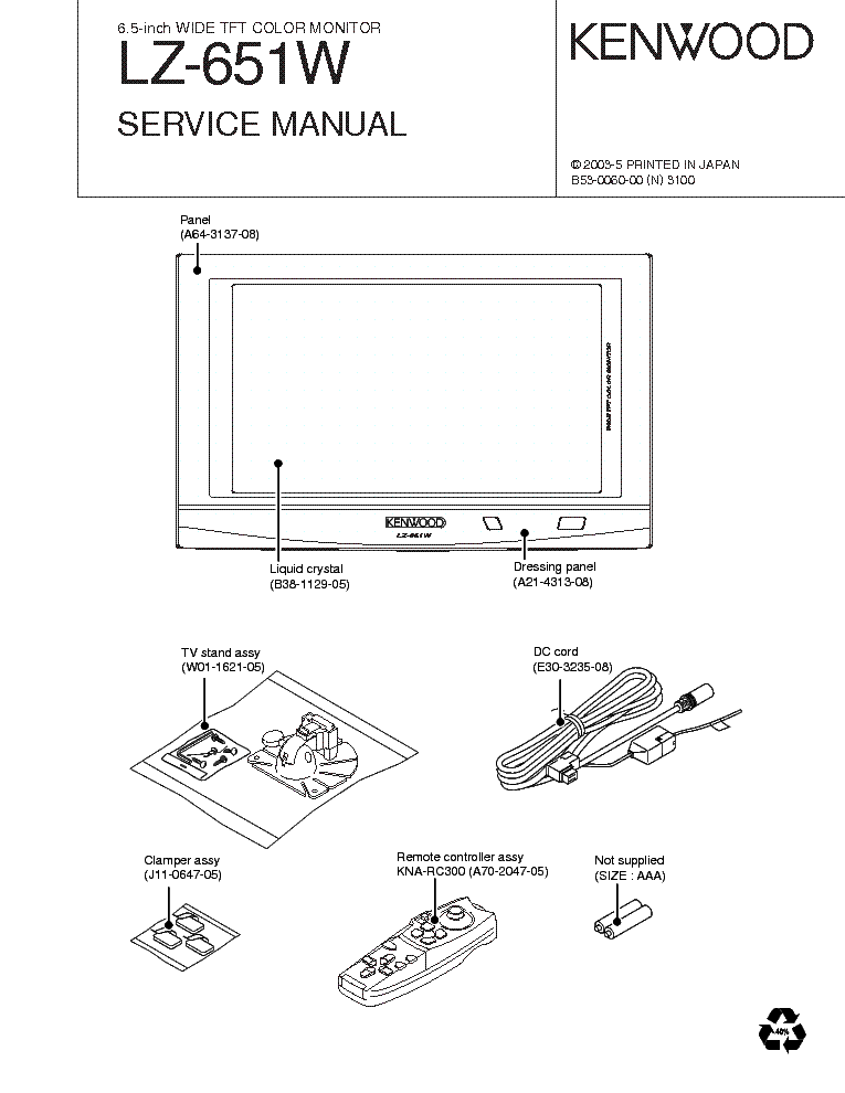 KENWOOD L-08M Service Manual free download, schematics