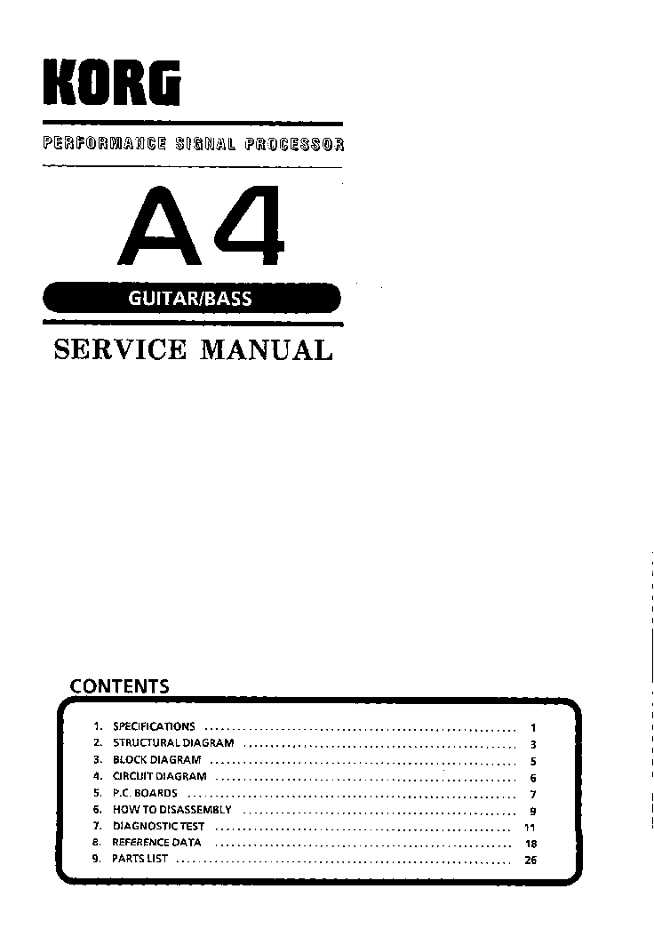 KORG A4 SM Service Manual download, schematics, eeprom