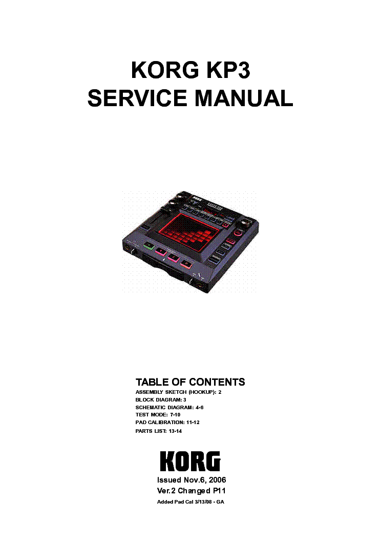 KORG PEQ-1 PARAMETRIK-EQ SCH. Service Manual free download