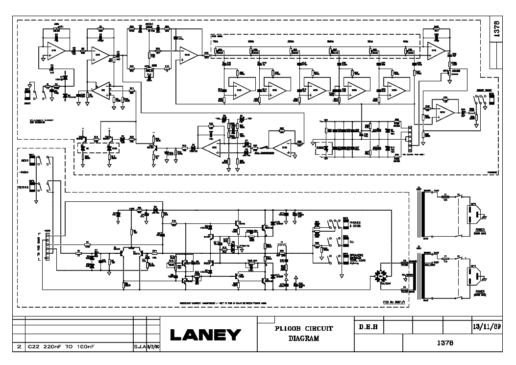 LANEY PL100B SCH Service Manual download, schematics
