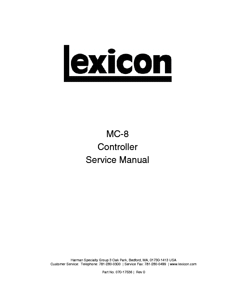 LEXICON JAMMAN SCH Service Manual download, schematics