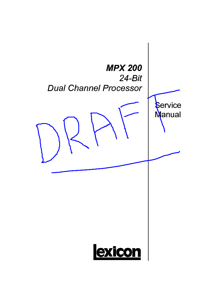 LEXICON MPX 200 SM Service Manual download, schematics