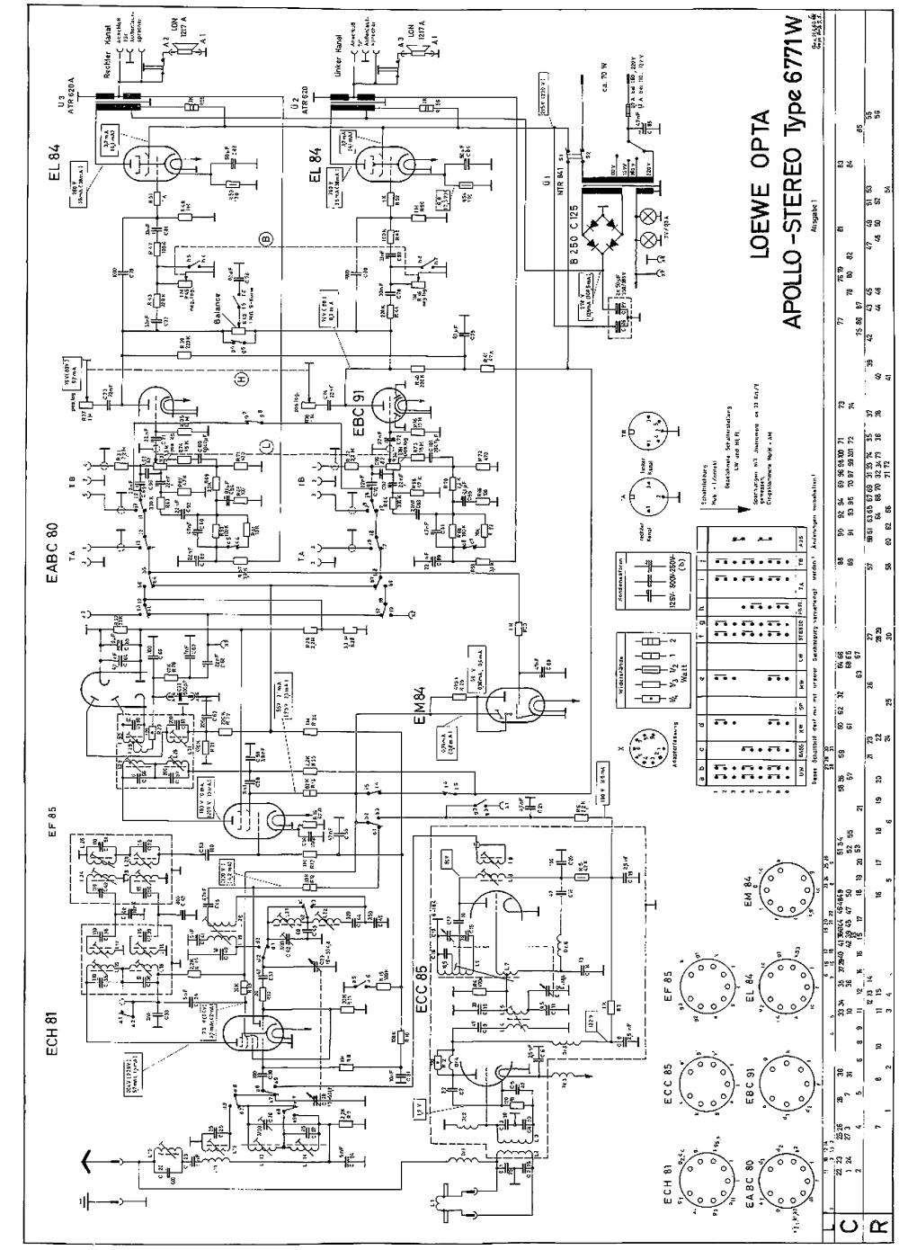 medium resolution of loewe opta apollo stereo 6771w 2xel84 am fm radio sch service manual