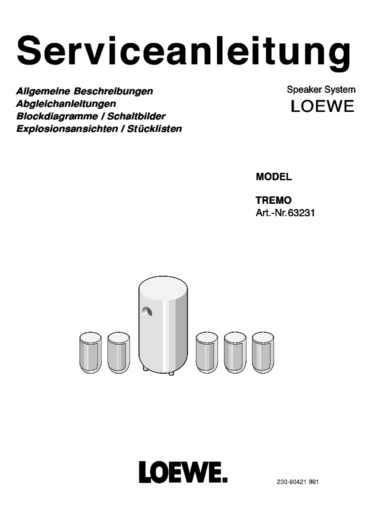LOEWE TREMO ART NR 63231 Service Manual download