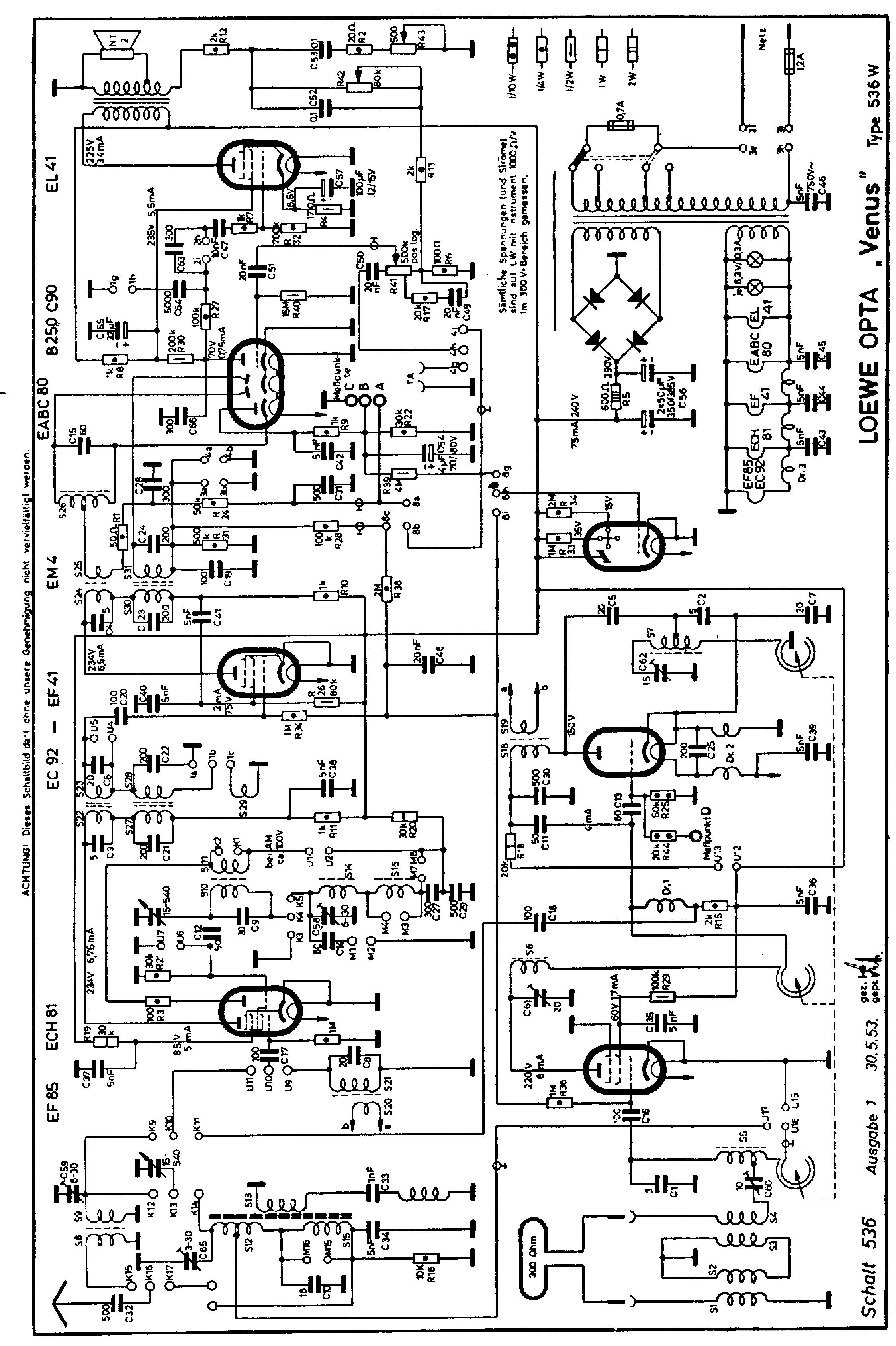 LOEWEOPTA 536W VENUS-A1 AM-FM RECEIVER SCH Service Manual