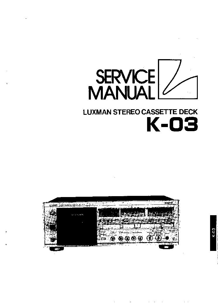 LUXMAN K03 SM Service Manual download, schematics, eeprom