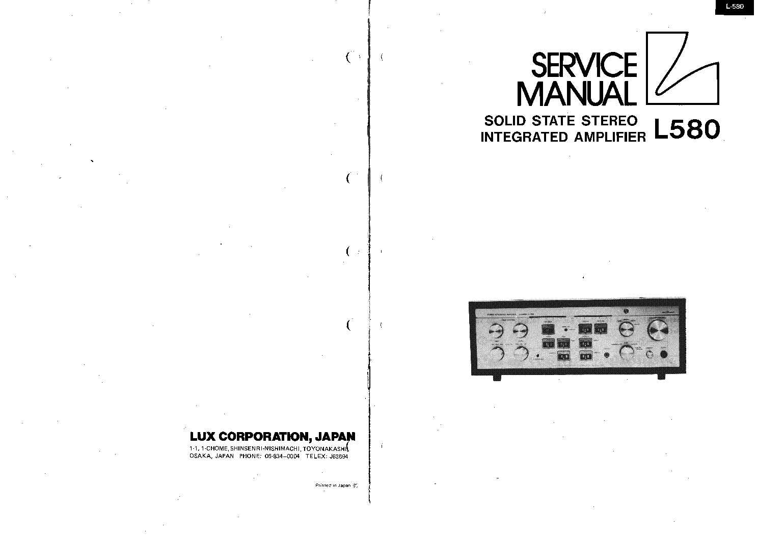 LUXMAN L-580 AMPLIFIER SM Service Manual download