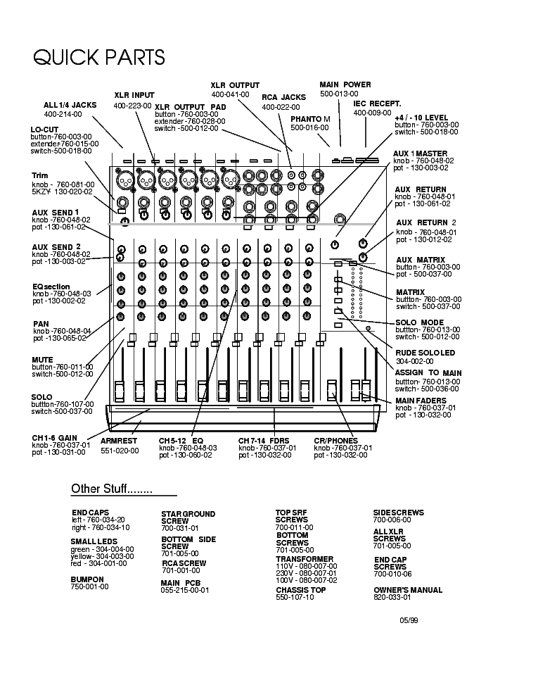 MACKIE 1402-VLZ MIXER Service Manual download, schematics