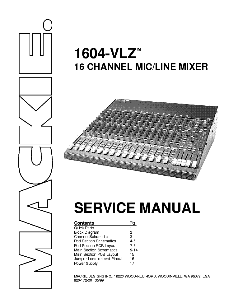 MACKIE 1604-VLZ MIXER Service Manual download, schematics