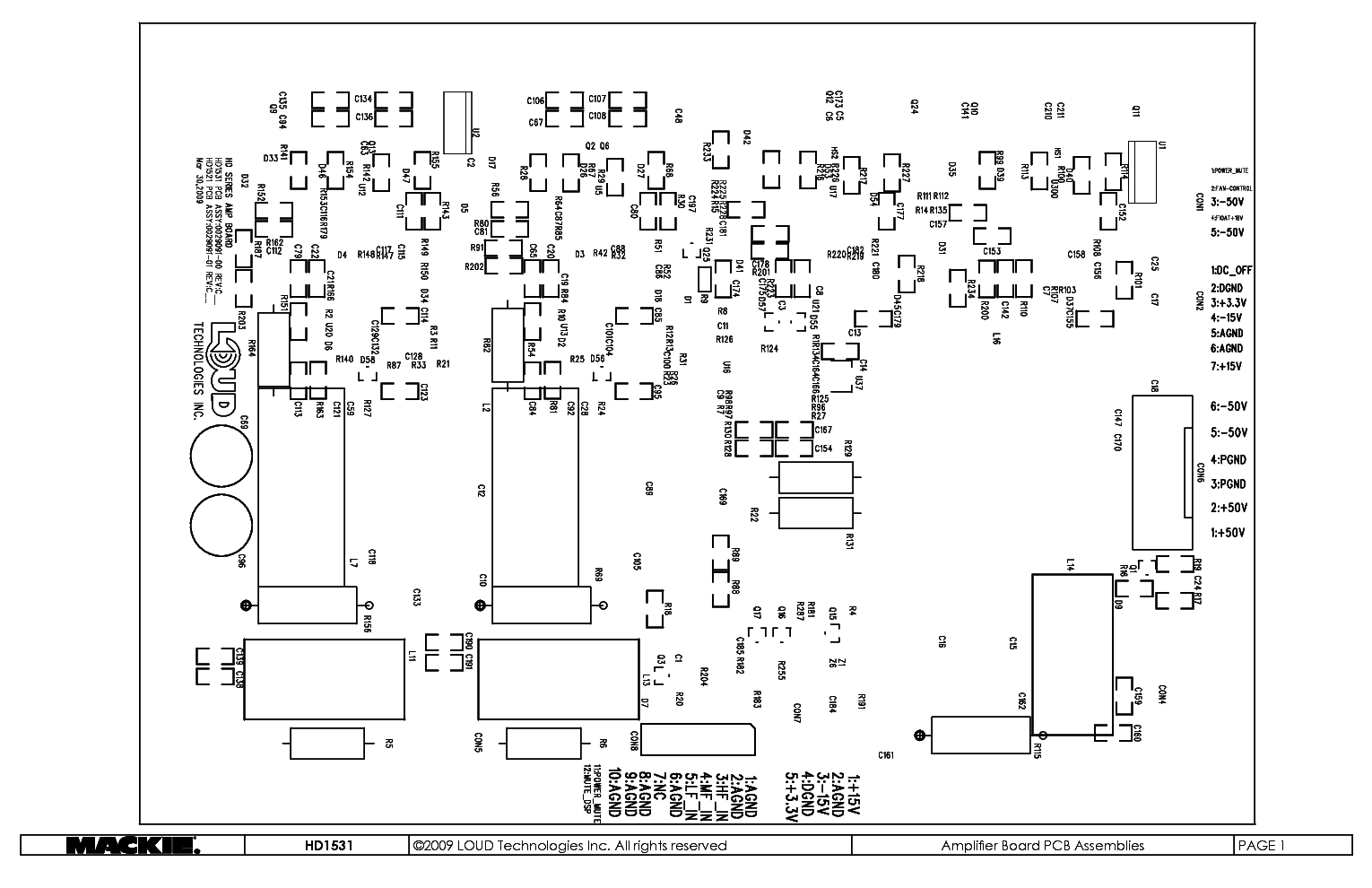 MACKIE AMPLIFIER BOARD PCB ASSEMBLY TOP AND SCHEMATICS