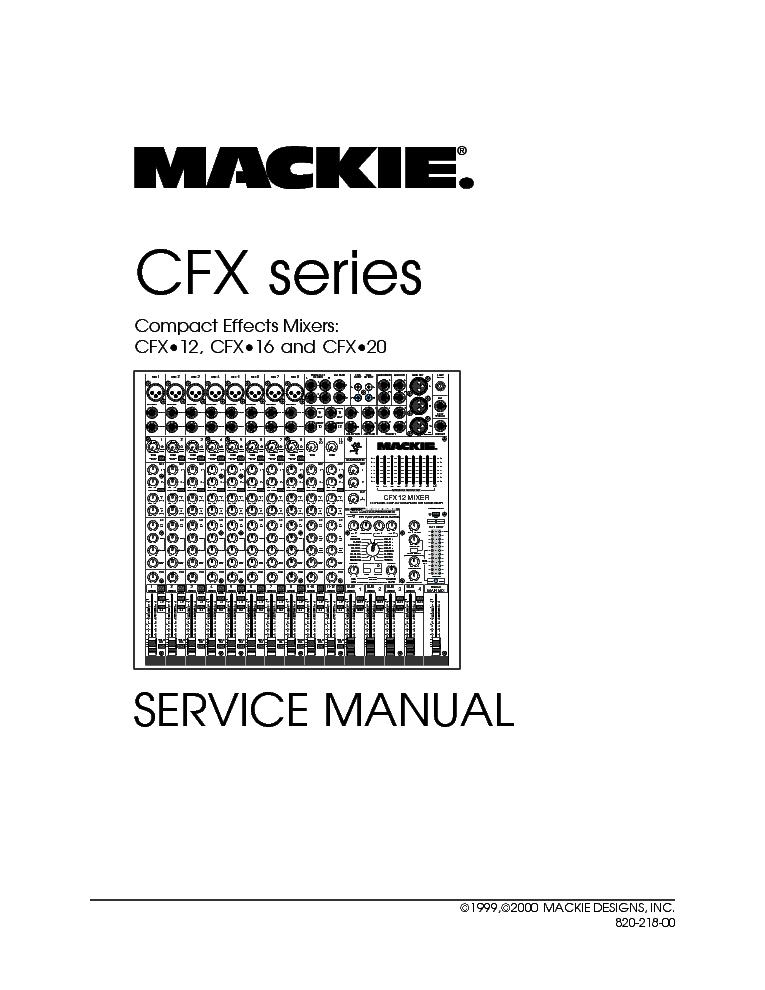 MACKIE CFX12 CFX16 CFX20 SM Service Manual download