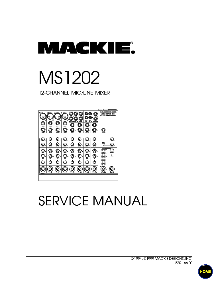 MACKIE MS1202 MIXER Service Manual download, schematics