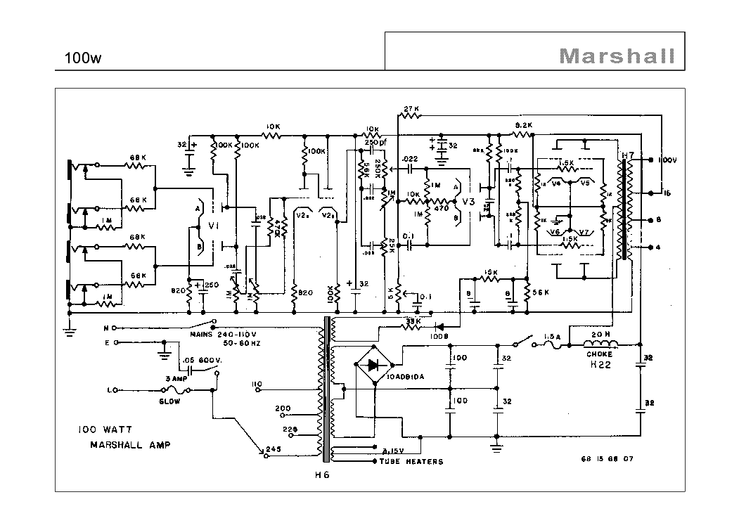 MARSHALL 100W Service Manual download, schematics, eeprom
