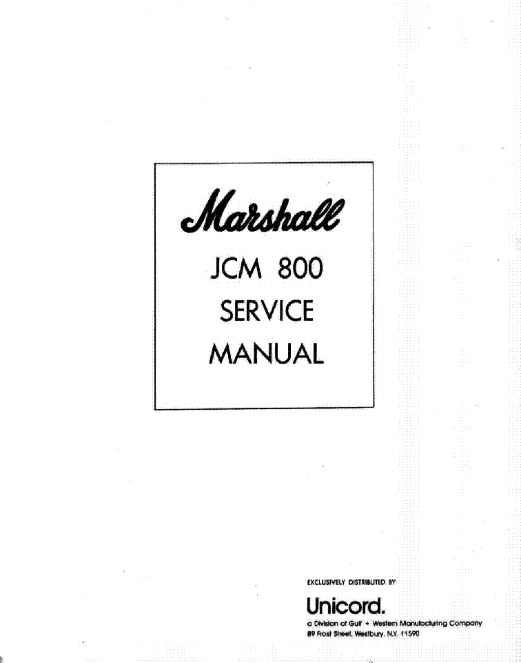 MARSHALL JCM800 Service Manual download, schematics